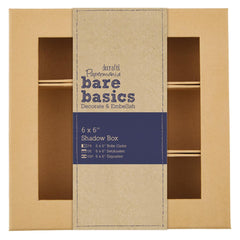 Papermania Bare Basics Shadow Box 15.2 cm/6 inch Square Shape Brown Home Decorations