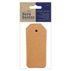 Papermania Bare Basics 12 Corrugated Gift Tags 50mm x 108mm Scrapbooking Crafts