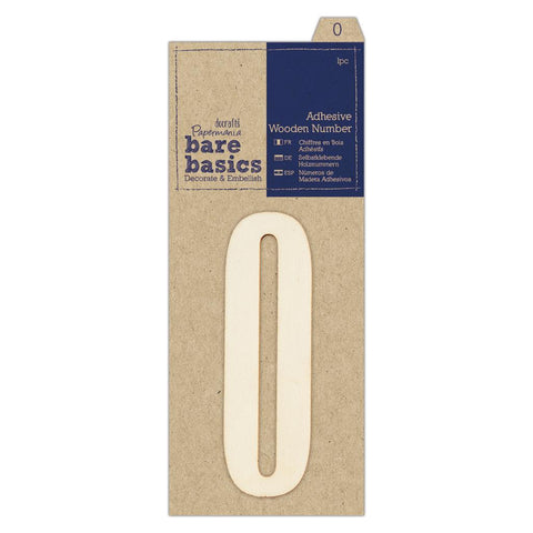Papermania Bare Basics Adhesive Wooden Numbers (0 - 9) Decoration Scrapbooking Crafts 10cm