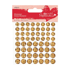 60 x Papermania Gold Shimmer Dome Stickers Scrapbooking Embellishments Crafts