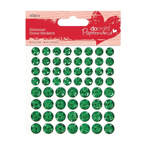 60 x Papermania Green Shimmer Dome Stickers Scrapbooking Embellishments Crafts