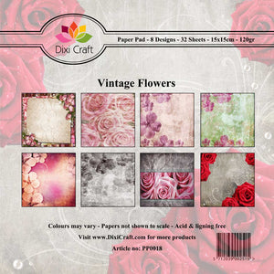 "Dixi Craft 8 Designs Paper Pack 6"" Card Making 32 Sheets VINTAGE FLOWERS AS SEEN ON TV - Hobby & Crafts"