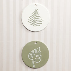 White Colour Ceramic Round Plate With Large Hole For Hanging Decorations D: 15cm