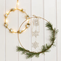 Gold Circular Wire Metal Ring Dream-catcher Christmas Wreath Lamps D: 20 cm