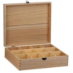 Wooden Box With 12 Compartment Teabag Storage Kitchen