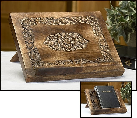 Medallion Wood Carved Bible/Missal Stand