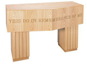 "Wooden Communion Table with Lettering, 60"" x 30"" (Style 3707)"