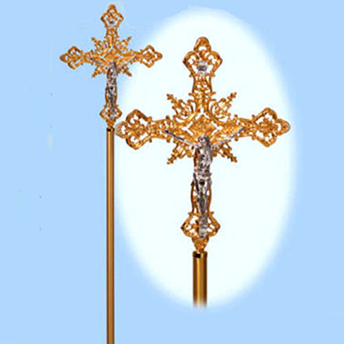 Processional Crucifix with Gold Plated (Style K1080)