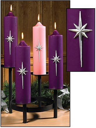 "12"" Bright Morning Star Advent Pillar Set (Style: TS691)"