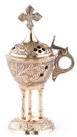Ornate Brass Incense Burner (Style: 453)