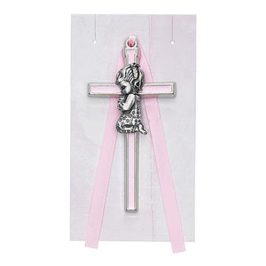 "3 1/2"" Pink Girl Crib Cross (Style: PW14-P)"