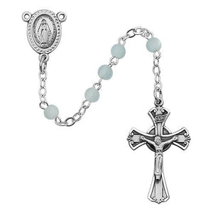 3 MM Blue Glass Rosary (Style: 201D-BL/G)