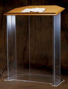 Acrylic Pulpit with Wood Top and Cross (Style 3351W)