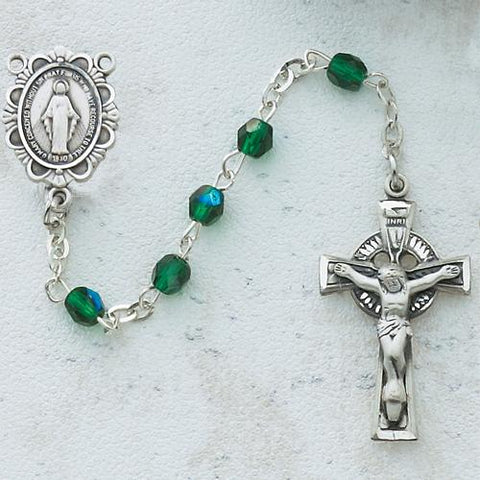 3mm Green Irish Rosary (Style: C49DW)