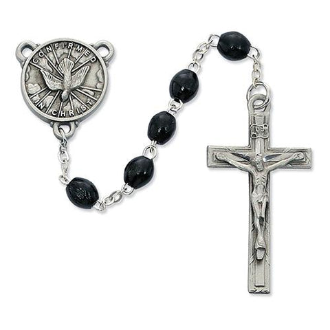 4 X 6 Black Wood Holy Spirit Rosary (Style: R447DF)