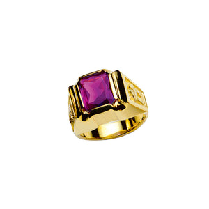 Bishop's Ring with Synthetic Amethyst in 14K Gold (Style 4370)