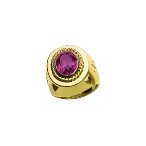 Bishop's Ring with Synthetic Amethyst in 14K Gold (Style 4372)