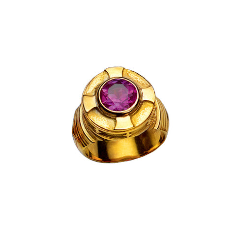 Bishop's Ring with Synthetic Amethyst in 14K Gold (Style 4385)