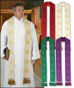 Jerusalem Cross Stole with Tassels (Series MC233)