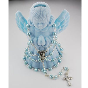 4 MM Blue Pearl Rosary with Guardian Angel Box (Style: R567AB)