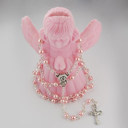 4 MM Pink Pearl Rosary with Guardian Angel Box (Style: R566AB)