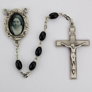 4X6mm Black St Therese Rosary (Style: R151DF)