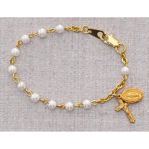 "5 1/2"" Gold Pearl Bracelet (Style: B28H)"