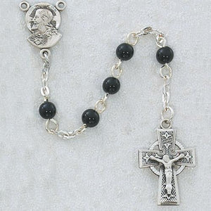 5 MM Black Glass Rosary Celtic (Style: R321DG)