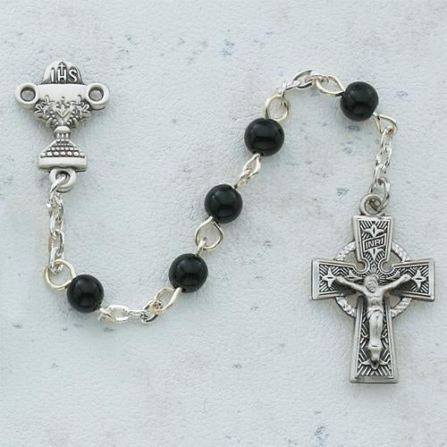 5mm Black Celtic Communion Rosary (Style: C23RB)
