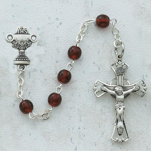 5mm Garnet Communion Rosary (Style: C39B)