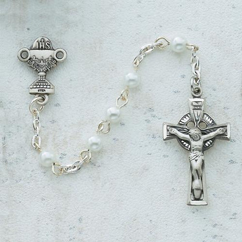 5mm Pearl Celtic Communion Rosary (Style: C50DW)