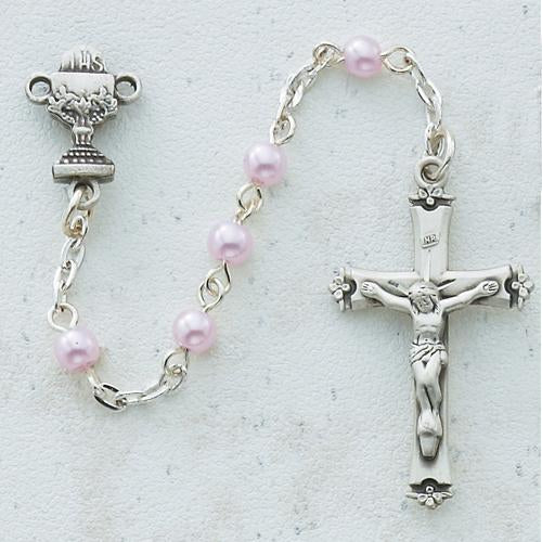5mm Pink Pearl Communion Rosary (Style: C1W)