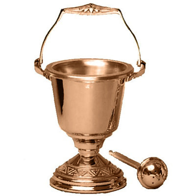 Holy Water Pot & Sprinkler: Bronze Finish (Series 240-29)