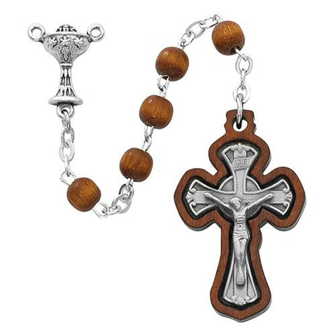 6mm Brown Wood Communion Rosary (Style: R622B)