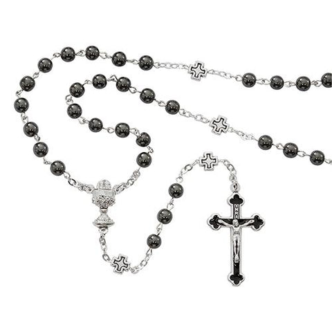 6mm Hematite Communion Rosary (Style: R670B)