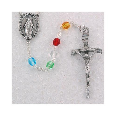 6mm Pewter Crystal Mission Rosary (Style: R231DF)