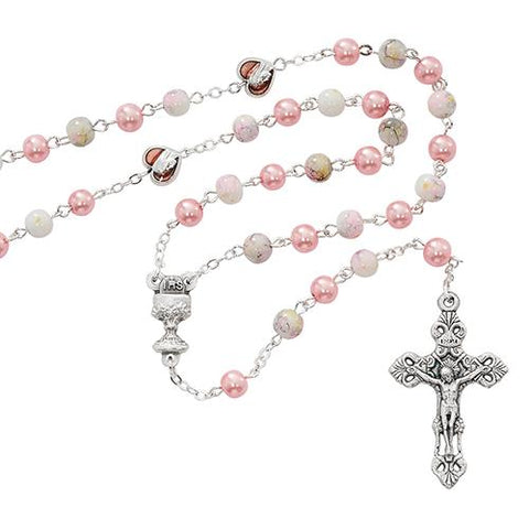 6mm Pink Marble Communion Rosary (Style: R659W)