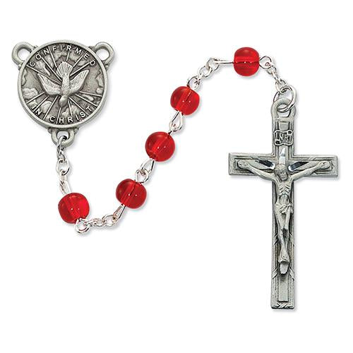 6mm Red Glass Holy Spirit Rosary (Style: R440DF)
