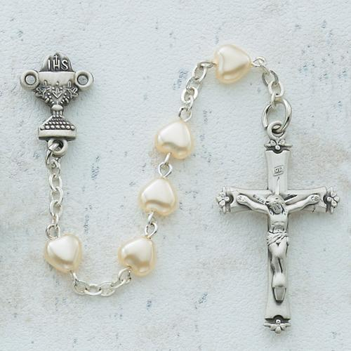6X6 Pearl Heart Communion Rosary (Style: 464W)