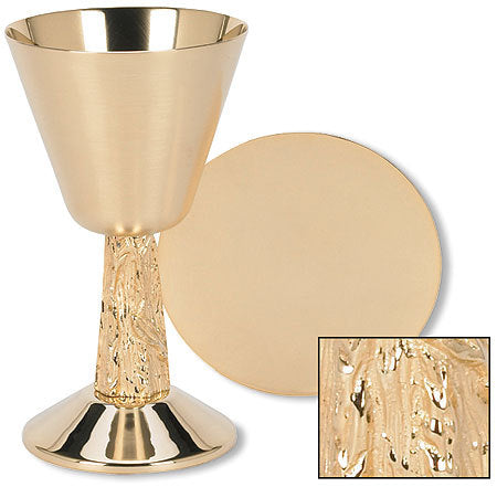 Satin Cup with Hand Cast Vine Stem Chalice and Paten Set (Series TS686)