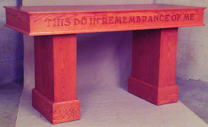 "Wooden Communion Table with Lettering, 60"" x 24"" (Style 475)"