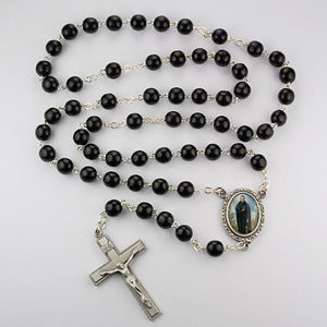 7mm Black St. Peregrine Rosary (Style: R612DF)