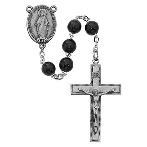 7mm Black Wood Rosary Boxed (Style: R434F)