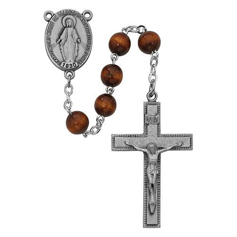 7mm Brown Wood Rosary Boxed (Style: R435F)