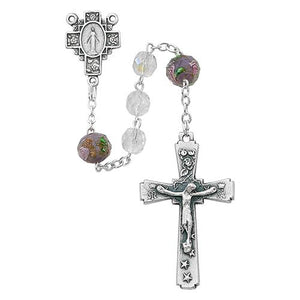 7mm Crystal Ab Rosary With Flower (Style: R484SF)