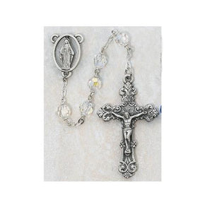 7mm Crystal Tin Cut Rosary (Style: 7DGD-CR/F)