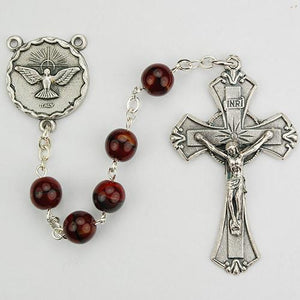 7mm Holy Spirit Red Black Rosary (Style: 833R)