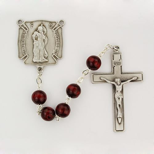 7mm Red Wood Firefighter Rosary (Style: R684DF)