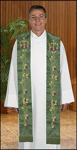 Embroidered Jacquard Stole w/Cross & Vine Design (Series NC971)