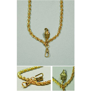 Brass Chain in French Rope Style, Gold Plated  (Style 4339)